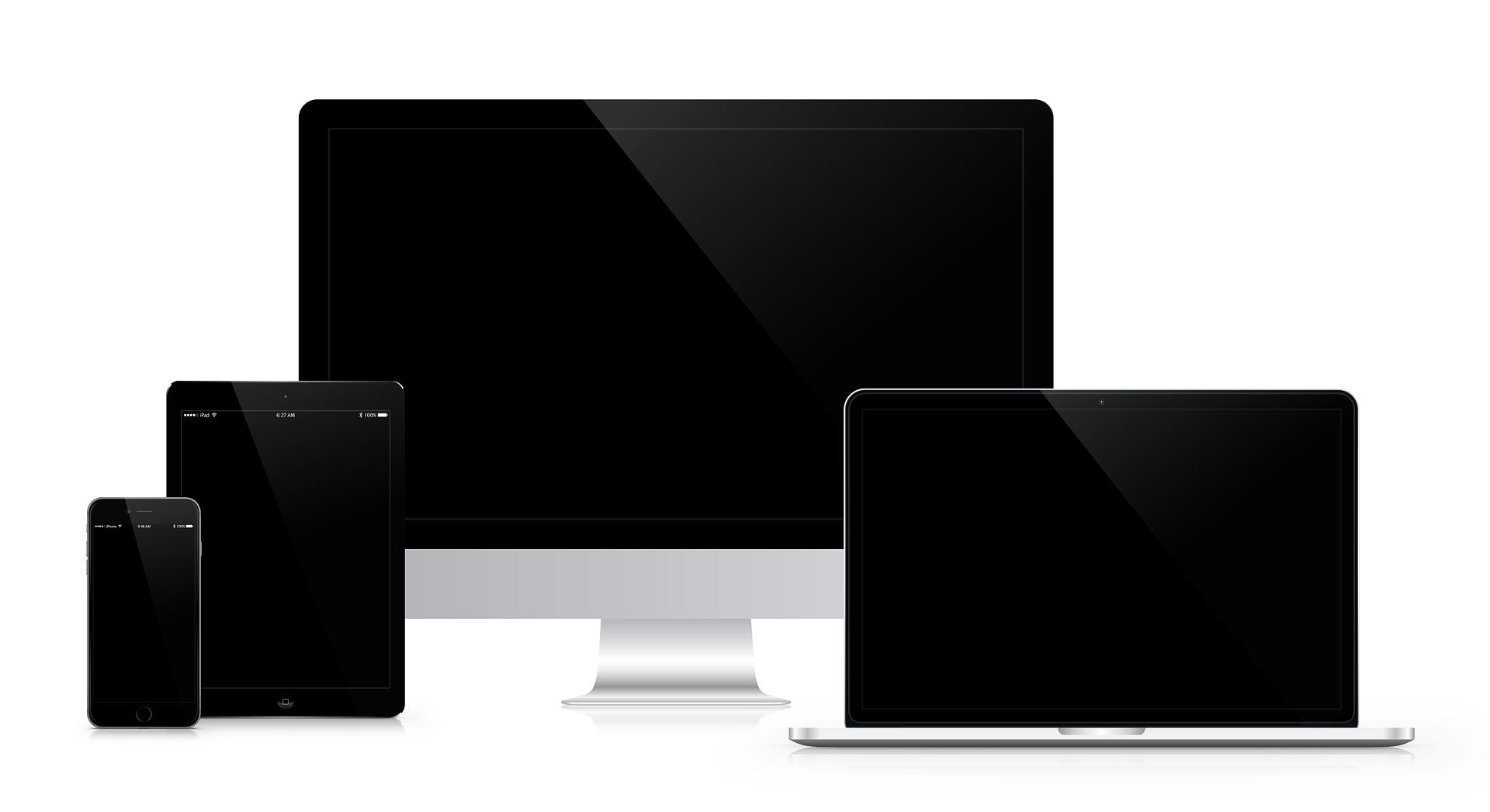 Notebook, számítógép, telefon, tablet, monitor.