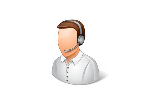 Ügyfélszolgálati támogató ikon a fején headset.